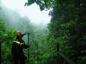 Zip-lining over 3000ft high in Costa Rica