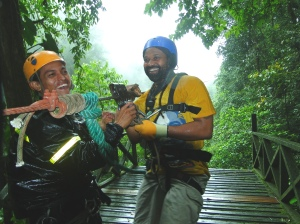 Sharing a few laughs with the tour guide after zipping to safety